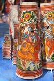 Colori dell'India, stampe variopinte dei indiani come lampade della decorazione Fotografia Stock Libera da Diritti