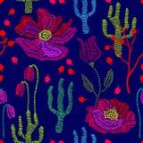 Colori della sorgente Modello senza cuciture floreale di vettore con i wildflowers del ricamo Immagine Stock