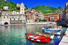 Colori delle serie dell'Italia - Vernazza, terre di Cinque Fotografia Stock Libera da Diritti