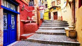 Colori delle serie della Grecia - vie vive di vecchia città di Chania, Cret Immagini Stock