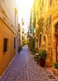 Colori delle vie vive di serie della Grecia di vecchia città di Chania, isola di Creta Fotografie Stock Libere da Diritti