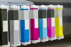 Colori di base della cartuccia di stampante a getto di inchiostro, ciano, magenda, giallo, nero Fotografie Stock Libere da Diritti
