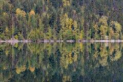 Colori di caduta e di simmetria Riflessioni del lago birkenhead a settembre Fotografie Stock Libere da Diritti