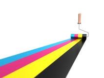 Colori di CMYK in vernice Fotografia Stock Libera da Diritti
