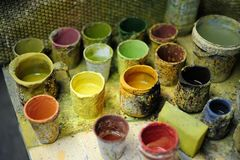 Colori e spazzole Fotografia Stock