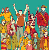 Colori i genitori felici con i bambini gruppo e cielo Immagini Stock Libere da Diritti