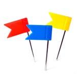 Colori i perni la foto, perno della bandiera di spinta dell'indicatore Immagine Stock