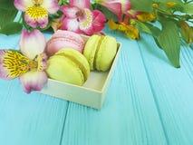 colori il acaron in una scatola su un fondo di legno blu, fiore del ¼ di Ð di alstroemeria Fotografia Stock Libera da Diritti
