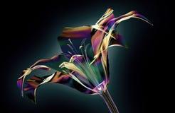 Colori il fiore di vetro isolato sul nero, lilly illustrazione vettoriale