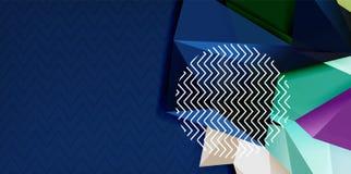 Colori il fondo astratto geometrico, progettazione minima dell'astrazione con forma di stile 3d del mosaico illustrazione di stock