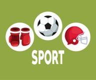 Colori il fondo con le strutture circolari con football americano del casco dei guantoni da pugile e gli elementi delle icone del Fotografia Stock Libera da Diritti