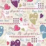 Colori il fondo con rosso ed il cuore ed i desideri blu del biglietto di S. Valentino mandano un sms a illustrazione vettoriale