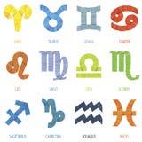Colori il illustrati geometrico di vettore dei segni e delle icone dello zodiaco del poligono Fotografia Stock Libera da Diritti