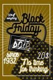 Colori il manifesto nero d'annata di vendita di venerdì Fotografia Stock Libera da Diritti