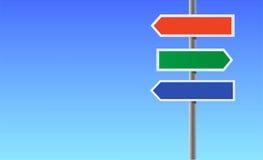 Colori il segno direzionale in bianco. Immagine Stock Libera da Diritti