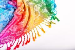 Colori indiani dell'arcobaleno della sciarpa con le spazzole su un fondo bianco Fotografia Stock