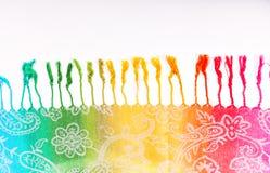 Colori indiani dell'arcobaleno della sciarpa con le spazzole su un fondo bianco Immagini Stock