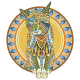 Colori l'illustrazione di vettore del gatto isolata su fondo bianco Illustrazione Vettoriale