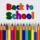 Colori la matita di nuovo al fondo di concetto della scuola, stile realistico Fotografia Stock Libera da Diritti