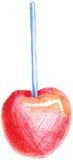Colori la mela rossa di vettore della matita sul bastone illustrazione di stock