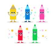 Colori la serie di caratteri di divertimento della matita per i bambini o istruisca illustrazione di stock