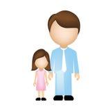 colori la siluetta anonima con il padre e la figlia in vestiti convenzionali royalty illustrazione gratis
