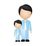 colori la siluetta anonima con il padre ed il figlio in vestiti convenzionali illustrazione di stock