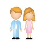 colori la siluetta anonima con il papà e la mamma in vestiti e capelli biondi convenzionali Immagine Stock Libera da Diritti