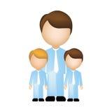 colori la siluetta con il padre ed i figli in vestito ed anonimo illustrazione vettoriale