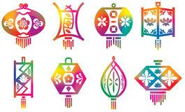 Insieme Delle Lanterne Cinesi Illustrazione Vettoriale - Immagine ...