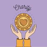 Colori le mani del fondo di immagine con fare galleggiare la moneta dorata con forma del cuore dentro il simbolo della carità Fotografia Stock