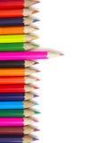 Colori le matite per dissipare su una priorità bassa bianca Fotografia Stock Libera da Diritti