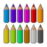Colori le matite Vettore Fotografia Stock