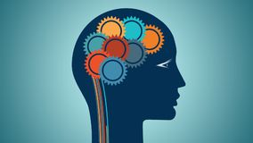 Colori le ruote di ingranaggio sotto forma di cervello, gente di pensiero razionale di concetto
