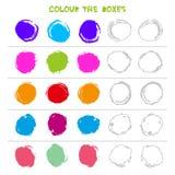 Colori le scatole Gioco educativo che cosa verrà dopo di istruzione che conta il gioco per i bambini in età prescolare Vettore illustrazione vettoriale