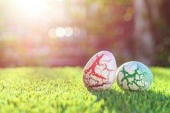 Colori le uova su erba verde con il bokeh della sfuocatura e il backgroun di luce solare Immagini Stock Libere da Diritti