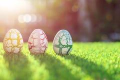 Colori le uova su erba verde con il bokeh della sfuocatura e il backgroun di luce solare Fotografia Stock