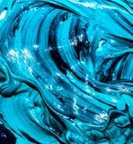 Colori luminosi blu della pittura ad olio, primo piano Fondo Immagine Stock Libera da Diritti