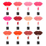 Colori luminosi e d'avanguardia della tavolozza del rossetto, Labbra dolci Fotografia Stock Libera da Diritti