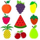 Colori luminosi svegli delle collezioni di vettore di frutti Insieme dei frutti del fumetto illustrazione vettoriale