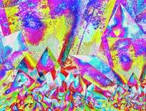 Colori luminosi in un fondo astratto con un modello dei cristalli Immagine Stock