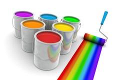 Colori pittura dell'arcobaleno e spazzola del rullo Fotografia Stock