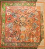 Colori sbiaditi degli affreschi sulla parete del palazzo storico di Hasht Behesht a Ispahan Fotografia Stock