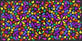 Colori scuri di piccoli triangoli neri su fondo variopinto Illustrazione di struttura astratta dei triangoli Progettazione del mo Fotografia Stock