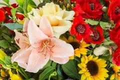 Colori variopinti di estate del primo piano di progettazione di estate del mazzo dei fiori Fotografia Stock Libera da Diritti