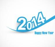 Colorido azul da onda do ano novo feliz 2014 Imagens de Stock