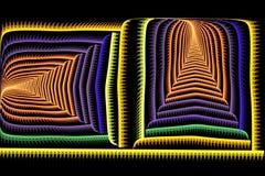 Colorido brillante del fractal cuadrado abstracto en negro Imagen de archivo