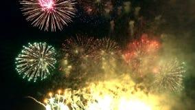 Colorido celebre el fuego artificial en la noche metrajes