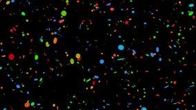 Colorido circular dos confetes no preto - laço de 4k 30fps
