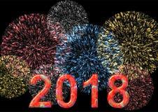 2018 colorido con el fuego artificial Imagen de archivo libre de regalías